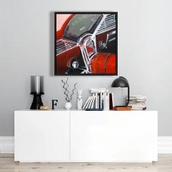 Framed 24 x 24 - Vintage red car dashboard
