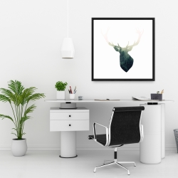 Framed 24 x 24 - Deer head with green landscape shape