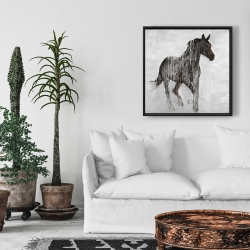 Framed 24 x 24 - Abstract brown horse