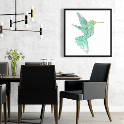 Framed 24 x 24 - Geometric hummingbird