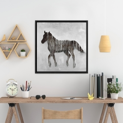 Framed 24 x 24 - Gambading abstract horse