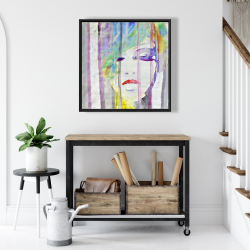 Framed 24 x 24 - Abstract colorful portrait
