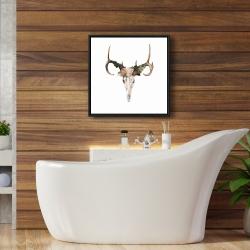Framed 24 x 24 - Deer skull with roses
