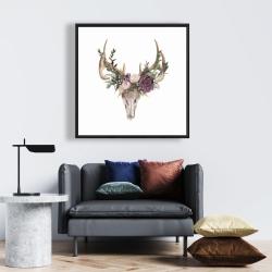 Framed 24 x 24 - Deer skull with flowers