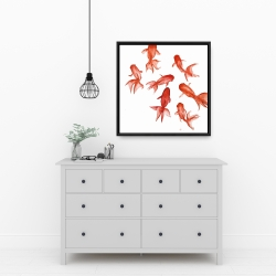 Framed 24 x 24 - Red fishes