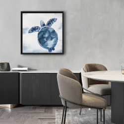 Framed 24 x 24 - Watercolor blue turtle
