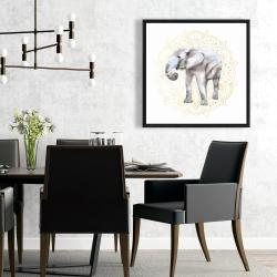 Framed 24 x 24 - Elephant on mandalas pattern