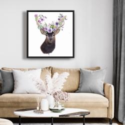 Framed 24 x 24 - Roe deer head with flowers