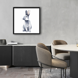 Framed 24 x 24 - Gray curious rabbit