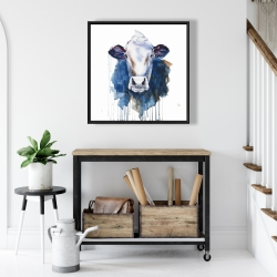 Framed 24 x 24 - Watercolor cow