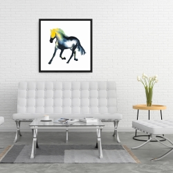 Framed 24 x 24 - Galloping colorful horse