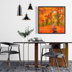 Framed 24 x 24 - Autumn trail in the forest