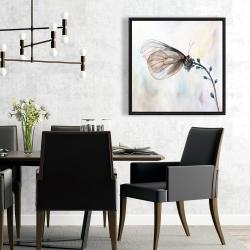 Framed 24 x 24 - Butterfly on blue flowers