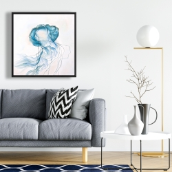 Framed 24 x 24 - Jellyfish moving