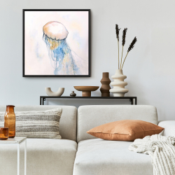 Framed 24 x 24 - Watercolor jellyfish