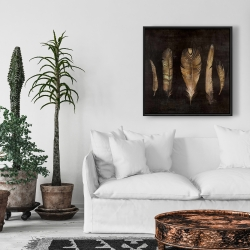 Framed 24 x 24 - Brown feather set