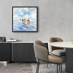 Framed 24 x 24 - Sailboats in the sea