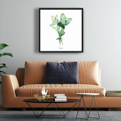Framed 24 x 24 - Tied up basil leaves bundle - en