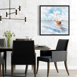 Framed 24 x 24 - Sailboat landscape