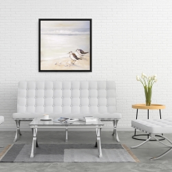Framed 24 x 24 - Two sandpipers on the beach