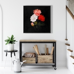 Framed 24 x 24 - Small bundle of roses