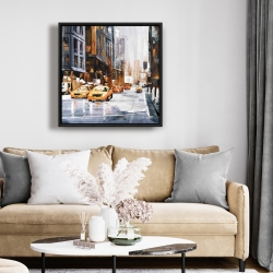 Framed 24 x 24 - Big city street with yellow taxi