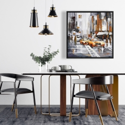 Framed 24 x 24 - Abstract citystreet with yellow taxis