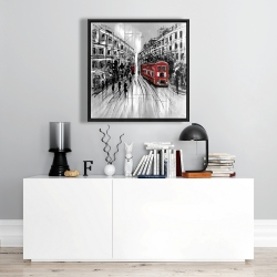 Framed 24 x 24 - Black and white street with red bus