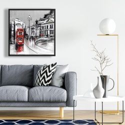 Framed 24 x 24 - Abstract gray city with red bus