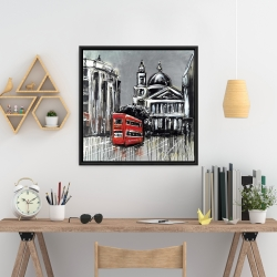 Framed 24 x 24 - London street with red bus