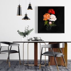 Framed 24 x 24 - Three beautiful rose flowers