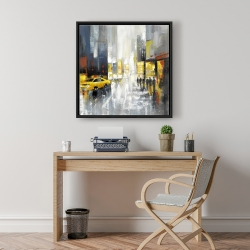 Framed 24 x 24 - Rainy busy street