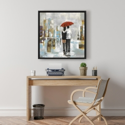 Framed 24 x 24 - Couple walking under their umbrella