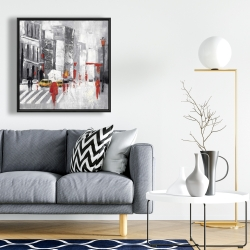 Framed 24 x 24 - Abstract cloudy city street