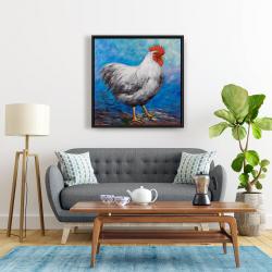 Framed 24 x 24 - Grey rooster