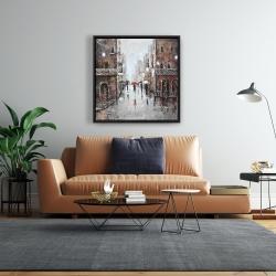 Framed 24 x 24 - City rain