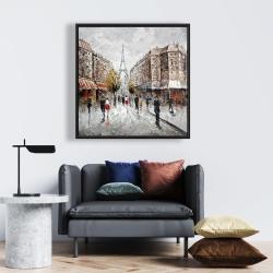 Framed 24 x 24 - Paris busy street