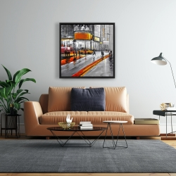 Framed 24 x 24 - Gray street with orange accents
