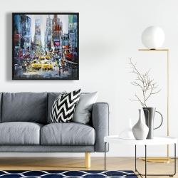 Framed 24 x 24 - Urban scene with yellow taxis