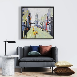 Framed 24 x 24 - Gray street with yellow and red accents