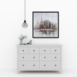 Framed 24 x 24 - Cityscape with typography in relief