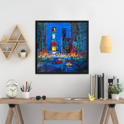 Framed 24 x 24 - Colorful and abstract times square by night