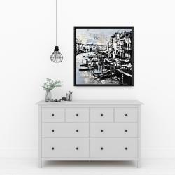 Framed 24 x 24 - Abstract venise port