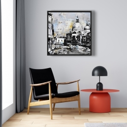 Framed 24 x 24 - Abstract city with typography