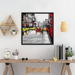 Framed 24 x 24 - Abstract traffic by a rainy day