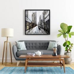 Framed 24 x 24 - Gray gloomy street