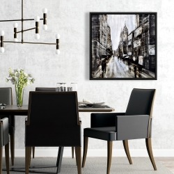 Framed 24 x 24 - Busy gray street