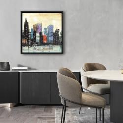Framed 24 x 24 - Skyline on abstract cityscape