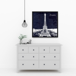 Framed 24 x 24 - Paris blue print and eiffel tower