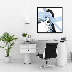 Framed 24 x 24 - Abstract blue woman portrait